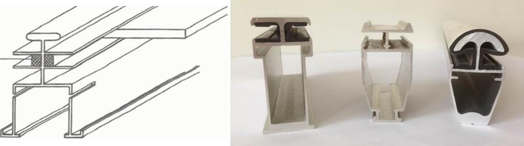 Figuur 2 Links één van de eerste aluminium dek-roede profielen; volgende generaties van het profiel